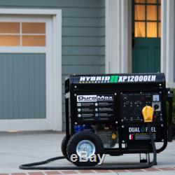 DuroMax 12000 Watt 18hp Portable Hybrid Gas Propane Generator RV Home Standby