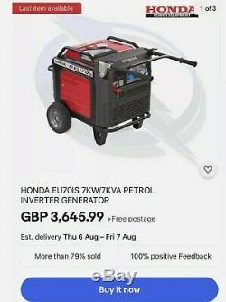 Honda EM70is Inverter Generator 7kW spares or Repairs Faulty Em7000is Eu70is