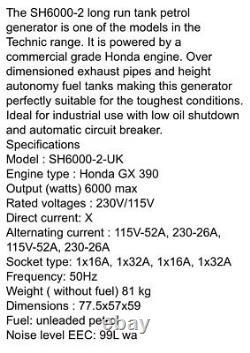 Honda GX 390 SDMO SH 6000-2 generator