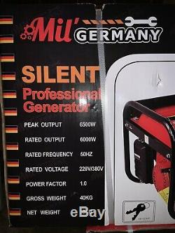 MU Germany Silent Petrol Powered Electric Generator 6500w Max Output 220v/380v