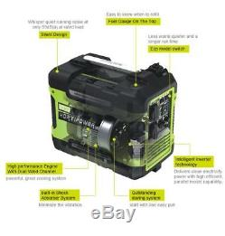 PORTABLE INVERTER GENERATOR 2000i PETROL GENERATOR 2000W 2KW SILENT HORTIPOWER