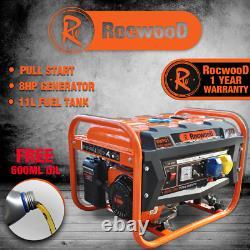 Petrol Generator RocwooD 2800w 4 Stroke 110v 8HP 6500W Recoil Start FREE Oil