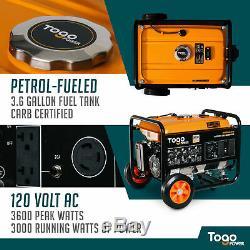 Togopower Gg3600 3000 Rated 3600 Peak Watts Gasoline Powered Portable Generator