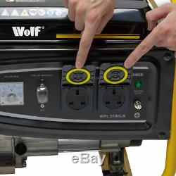 Wolf Petrol Generator 2500w 3.12KVA 5.5HP 230v Quiet Portable 4 Stroke Caravan