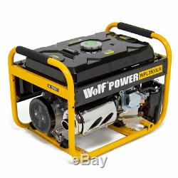 Wolf Petrol Generator 3200w 4kva 7HP 230v Quiet Portable 4 Stroke Caravan