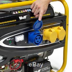 Wolf Petrol Generator 6500w 8.75kva 15HP with Wheels 110v 230v Portable 4 Stroke